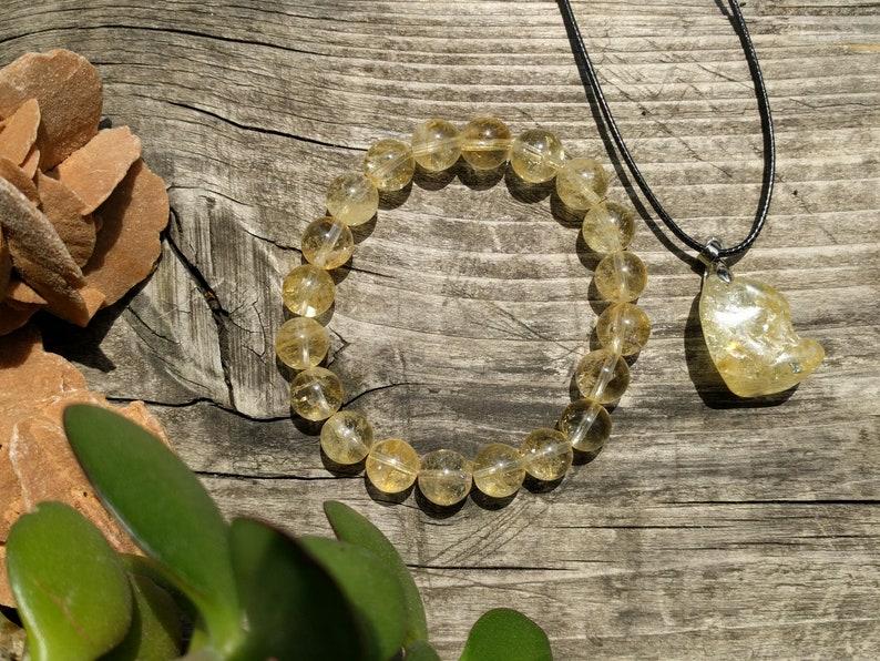 Citrine Jewelry Set Citrine Bracelet Citrine Crystal Pendant Necklace Crystal Healing Abundance Bracelet Attract Money Jewelry Prosperity