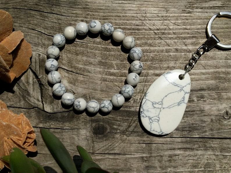 Jewelry Set Howlite Bracelet Howlite Keychain Calming Bracelet Calming Crystals Anxiety Relief Stress Relief Yoga Gift for Men Womens Gift