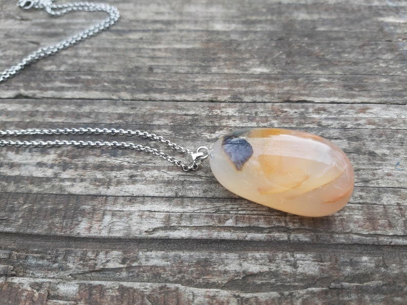 OOAK Dendritic Agate Pendant Necklace Statement Jewelry Bold Necklace Crystal Pendant Agate Pendant Necklace Unique Gift For Her Womens Gift