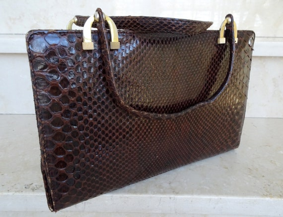 red-brown vintage snakeskin handbag from the 40s -