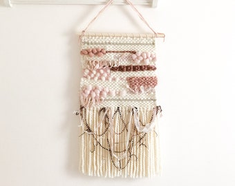 Rose gold pink boho woven tapestry ; Dusty pink boho woven wall hanging ; Bohemian woven wall art ; Pink fiber art ; Girl nursery wall decor