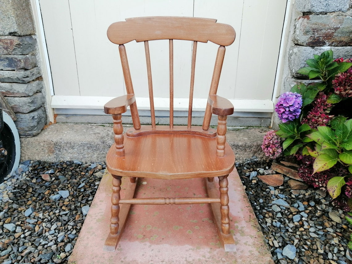 Vintage Children's Wooden Rocking Chair Farmhouse Rustic Children's Rocker Nursery Primitive Wood Rocking Chair Cottage Fireplace / Chez Rai