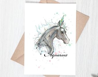 Aquarius Zodiac Unicorn Greeting Card