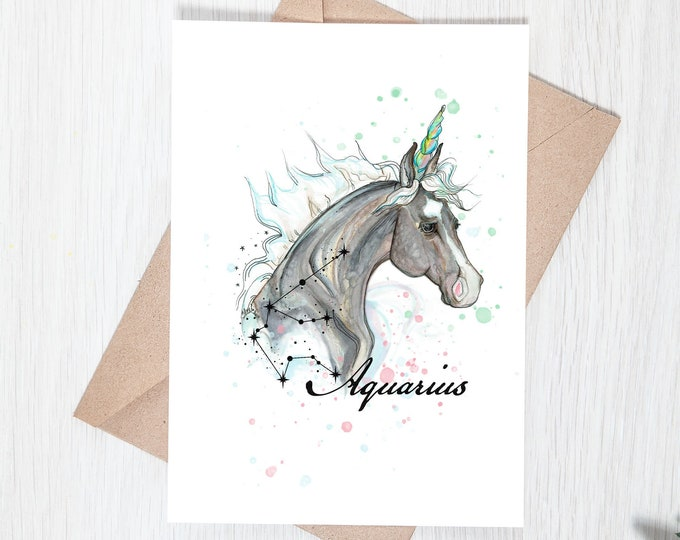 Aquarius Zodiac Unicorn Greeting Card