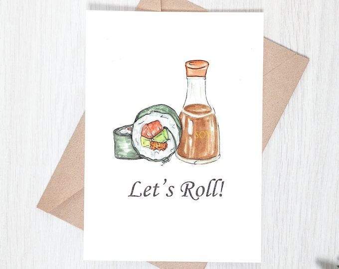Let's Roll! Sushi Pun Print - 5x7 Card Download