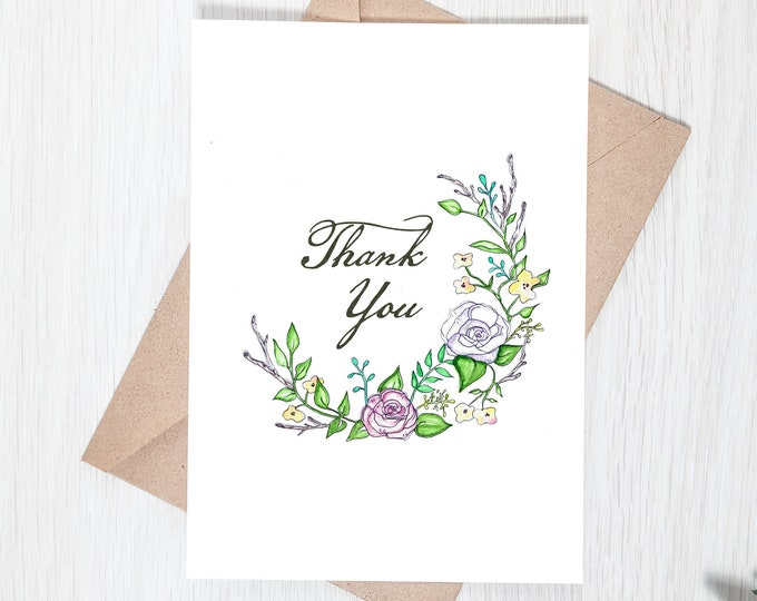 Floral Wreath Watercolor  Printable Thank You Note - Greeting Card Download