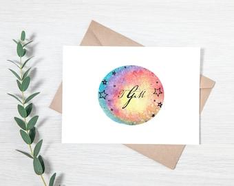 Customized Galaxy Monogram Greeting Card