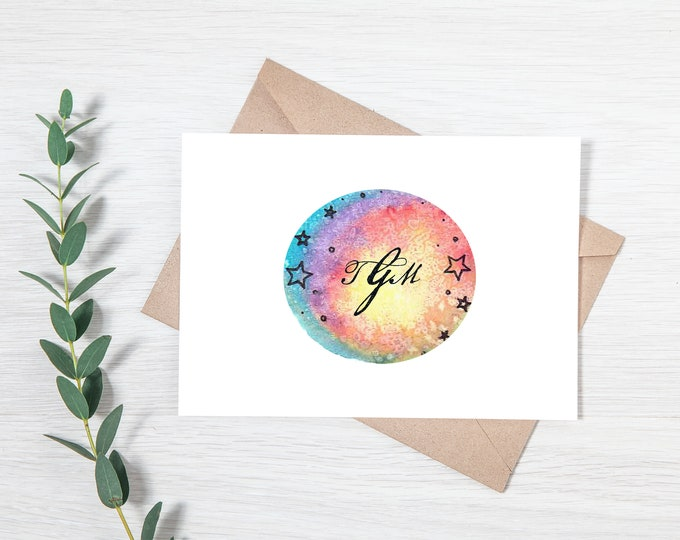 Customized Galaxy Monogram Greeting Card