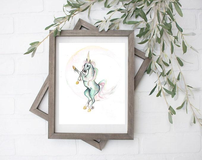 Zodiac Unicorn Art Print - Digital File - 8x10