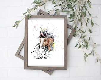 Libra Unicorn Art Print - Digital File - 8x10
