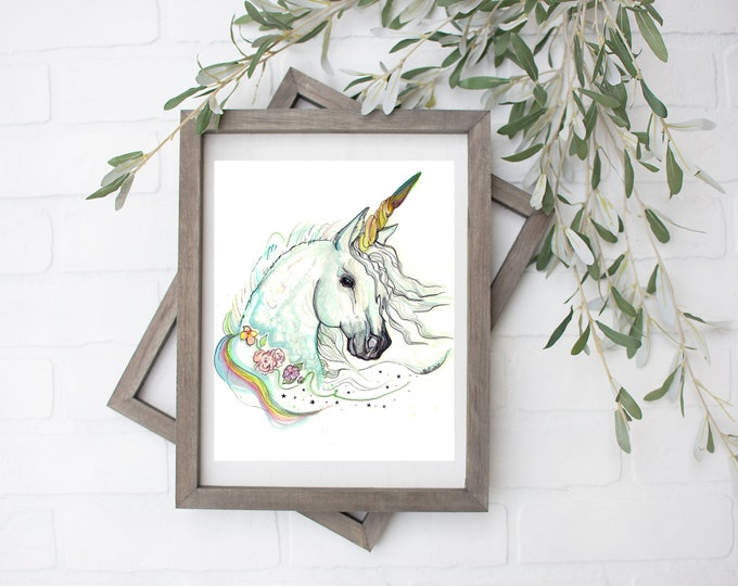 Virgo Unicorn Art Print - Digital File - 8x10