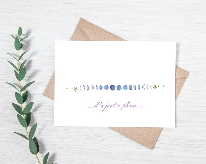 Punny Moon Phase Printable Set of Four Greeting Cards - Download