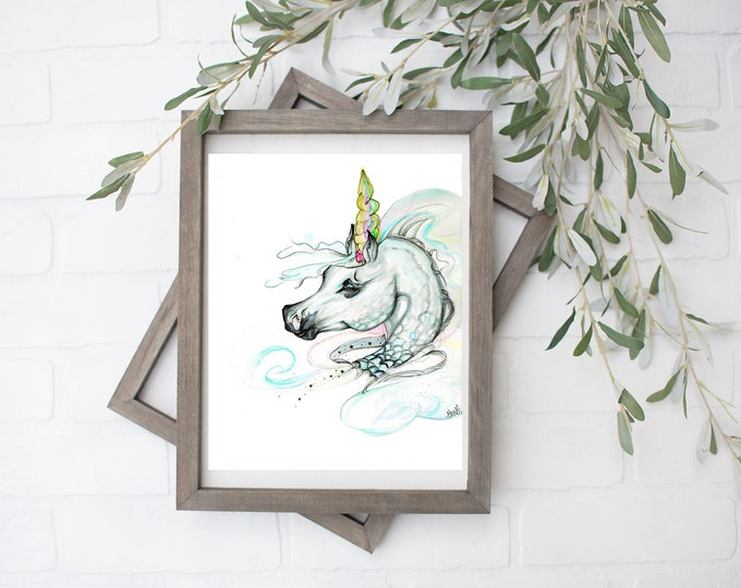 Pisces Unicorn Art Print - Digital File - 8x10
