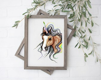 Libra Unicorn Art Print - Digital File - 8x10