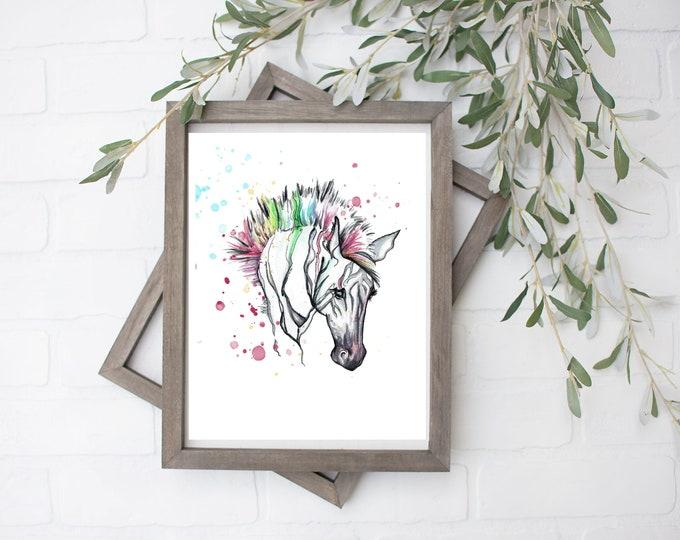 Rainbow Zebra Watercolor Art Print - Digital File - 8x10
