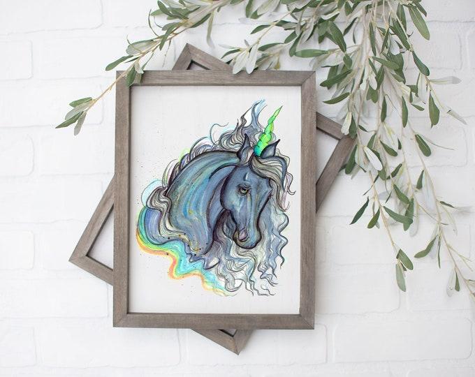 Leo Unicorn Art Print - Digital File - 8x10