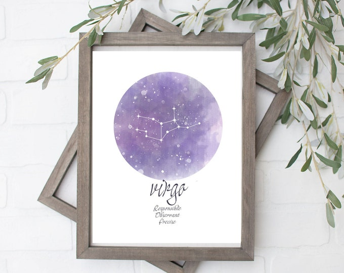 Virgo Constellation Art Print - Digital File - 8x10