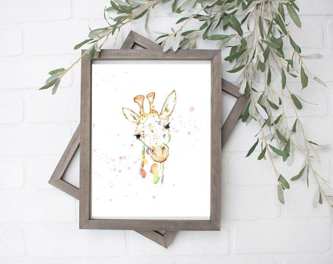 Rainbow Giraffe Watercolor Art Print - Digital File - 8x10