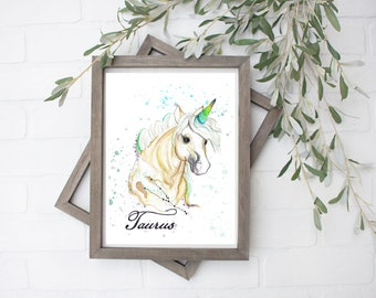 Taurus Unicorn Art Print - Digital File - 8x10