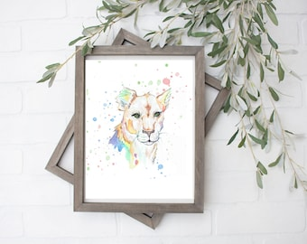 Rainbow Lioness  Watercolor Art Print - Digital File - 8x10