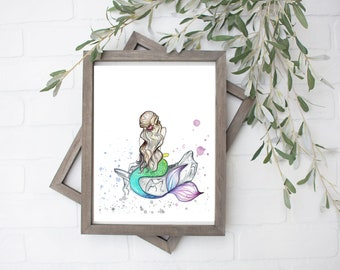 Watercolor Mermaid Art Print- Digital File - 8x10