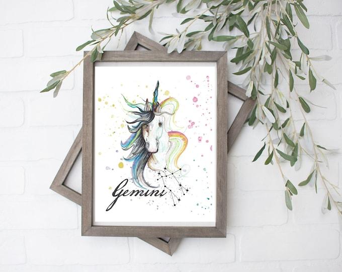 Gemini Unicorn Art Print - Digital File - 8x10