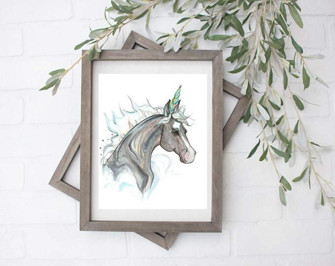 Aquarius Unicorn Art Print - Digital Download - 8x10