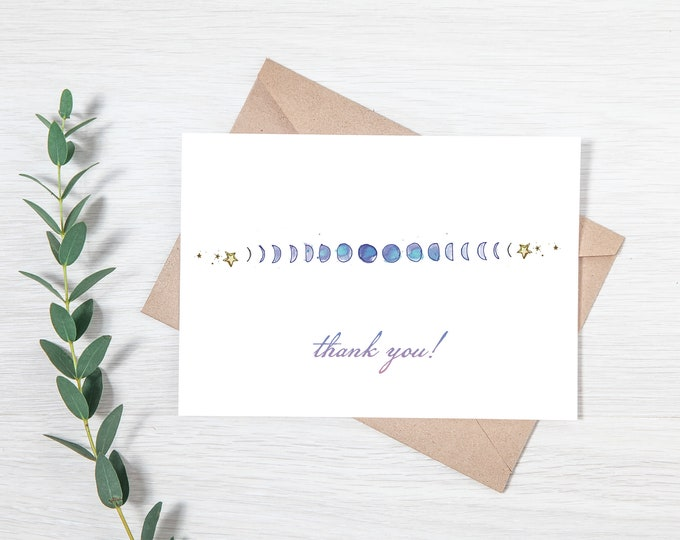 Moon Phase  Printable Thank You Note - Greeting Card Download