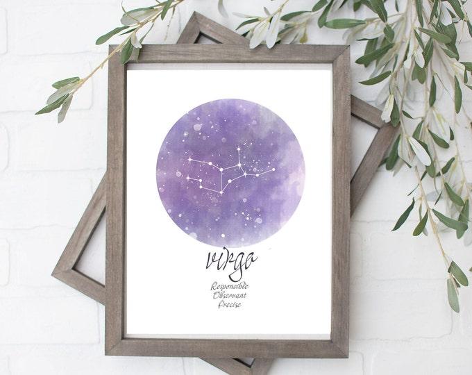 Virgo Constellation Art Print - Digital File - 8x10