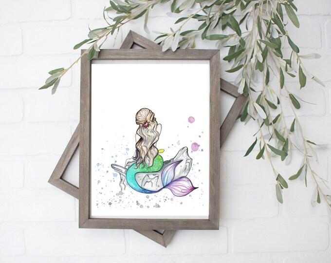 Watercolor Mermaid Art Print- Digital File - 8x10