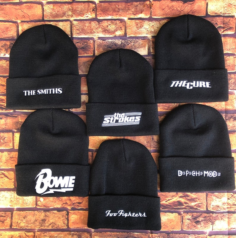 The Foo Fighters and The Strokes Inspired Unisex Cuffed Beanies The Smiths Depeche Mode,The Cure Bowie