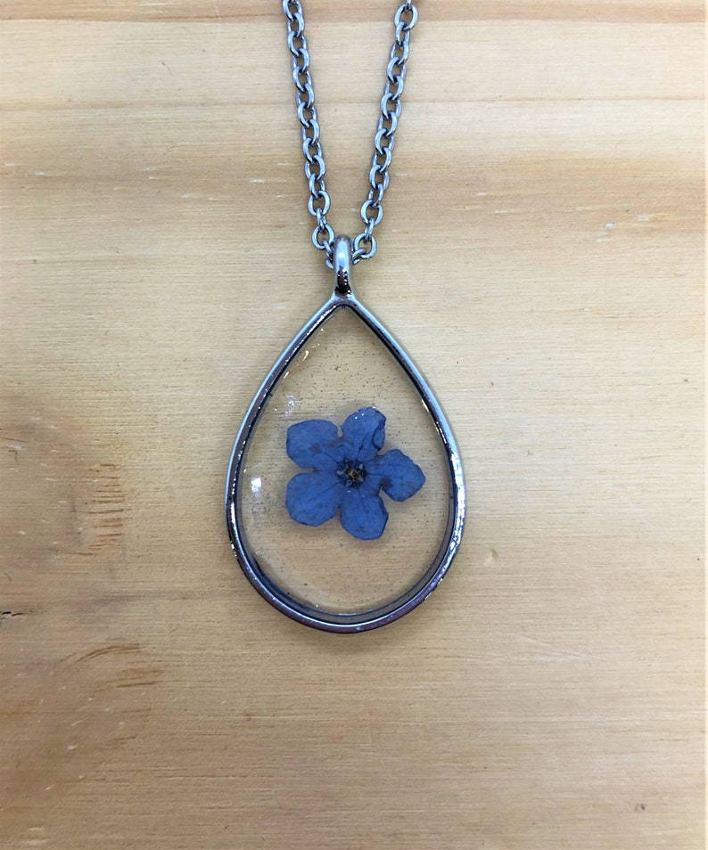forget me not necklace flower resin flower jewelry flower resin necklace forget me not jewelry flower necklace blue flower necklace