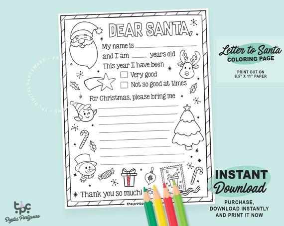 - Letter To Santa Coloring Page Printable Dear Santa Letter Etsy