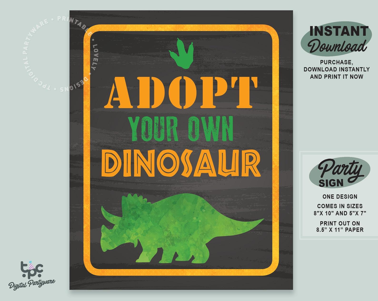 Dinosaur Party Sign Printable Adopt A Dinosaur Sign Etsy