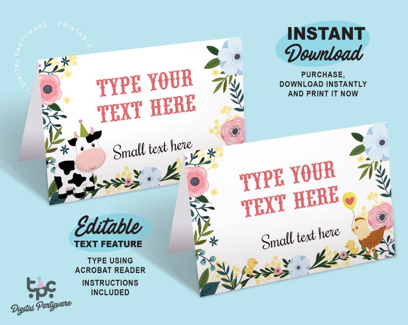 Farm Food Label / Printable Barnyard Birthday food cards / image 0