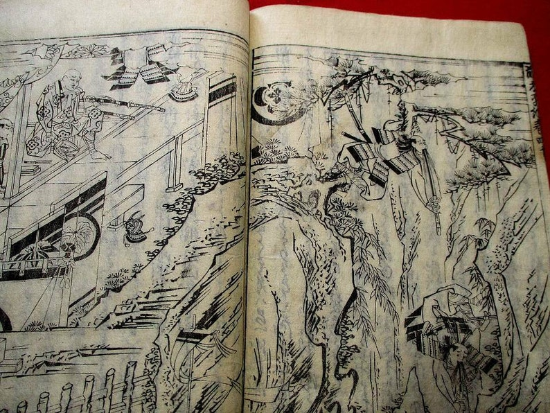 1680 ZEN-TAIHEI Woodblock print Japanese Samurai story BOOK.