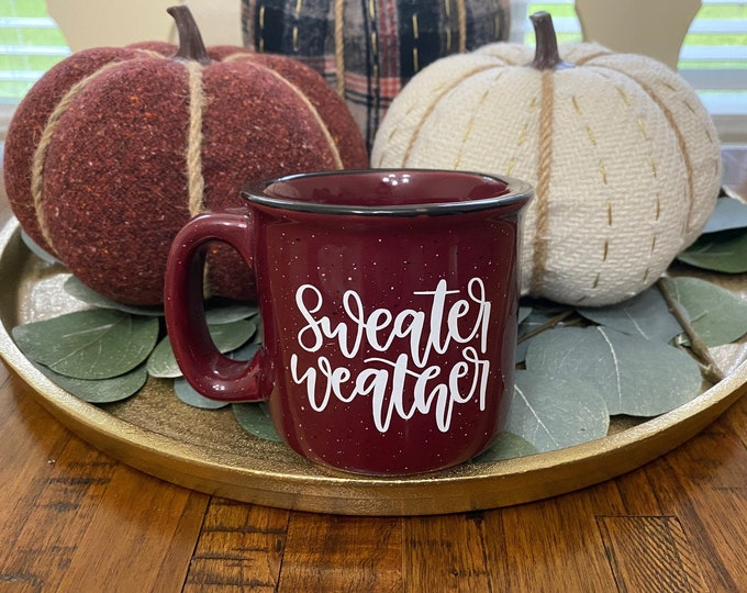 Sweater Weather Maroon Speckled Campfire Mug   Coffee   Home Décor   Kitchen Accessory   Office Accessory   Minimalist Décor