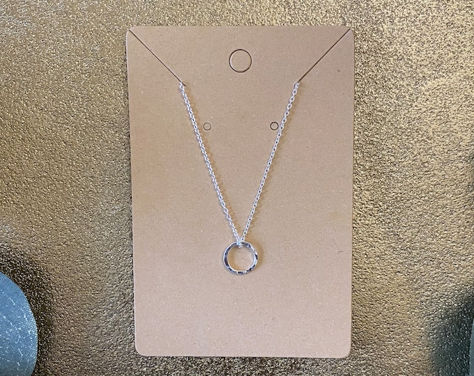 Hand Hammered Ring Necklace   Charm   Silver   Jewelry