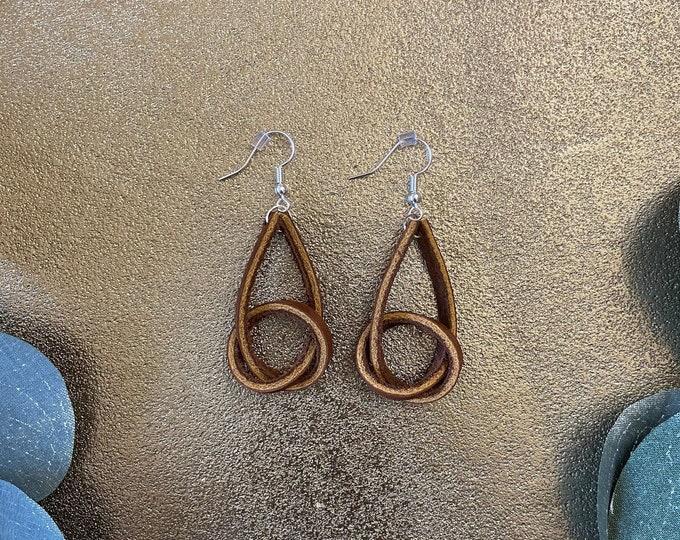 Leather Knot Earrings   Medium Brown   Jewelry   Minimalist