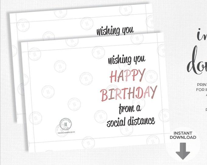 Happy Birthday Social Distance Greeting Card   Quarantine   Instant Download   Printable   JPEG   PDF  