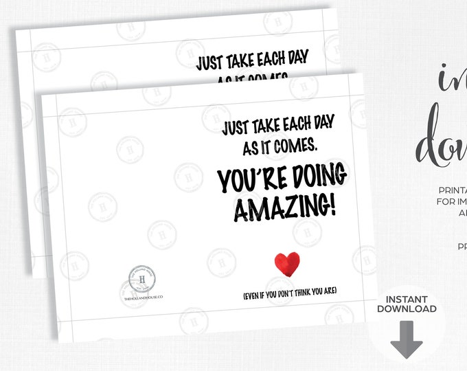You're Doing Amazing   One Day at a Time   Quarantine   Instant Download   Printable   JPEG   PDF  