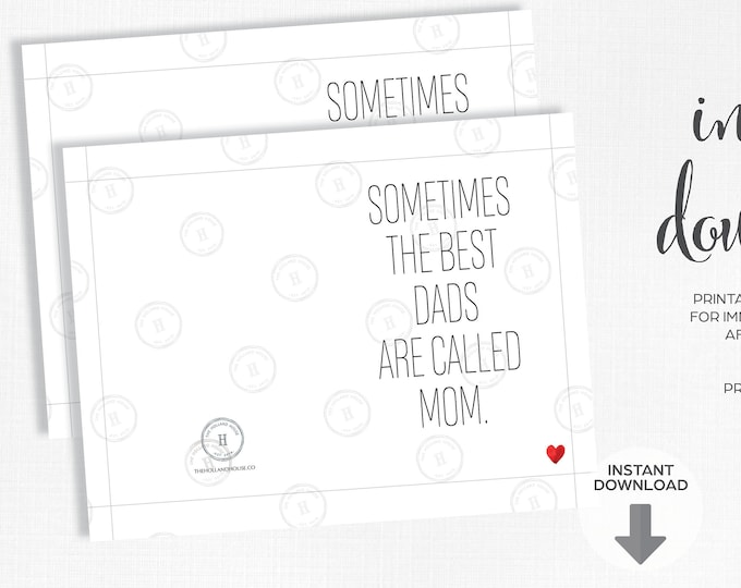 Father's Day Card   Best Dads Are Called Mom   Instant Download   Printable   JPEG   PDF  