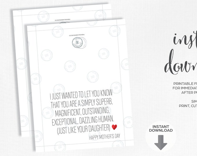 Mother's Day Card | Just Like Your Daughter | Instant Download | Printable | JPEG | PDF |