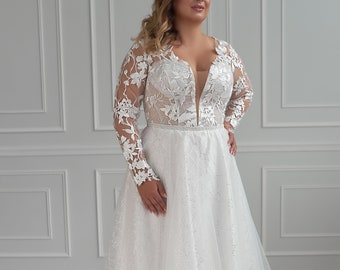 Plus Size Wedding Dress With Sleeves Etsy,Wedding Dresses For Mother