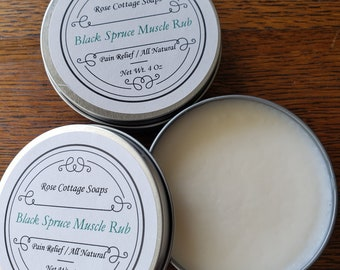 Black Spruce Muscle Rub | Muscle Balm | Muscle Salve | Men's Gifts| Pain Relief | Deep Tissue Rub