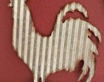 Rustic Metal Rooster | Tin Rooster | Corrugated Rooster | French Rooster | Chicken Sign | Country Decor | Farmhouse