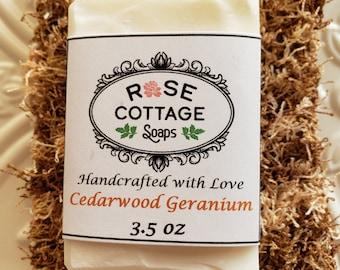 Cedarwood Geranium Coconut Oil Soap | Men's Soap | New Organic Soap