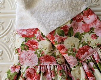 Peony Hand Towel Set / Ruffled Guest Towel Set / 2 Shabby Towels / Housewarming Gift