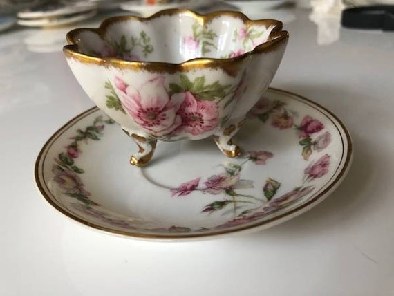 Limoges Antique Sugar Bowl and Plate Haviland and Co