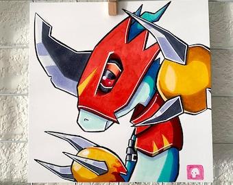 Flamedramon Copic Marker Sketch (Original Art)